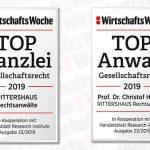 7. Juni 2019: RITTERSHAUS von Wirtschaftswoche zur TOP Kanzlei im Gesellschaftsrecht ausgezeichnet – Partner Prof. Dr. Christof Hettich gehört zu den besten Gesellschaftsrechtlern