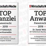 6. November 2019: WirtschaftsWoche zeichnet RITTERSHAUS als TOP-Kanzlei für Patentrecht aus – Partner Dr. Daniel Weisert einer der renommiertesten deutschen Patentrechtler